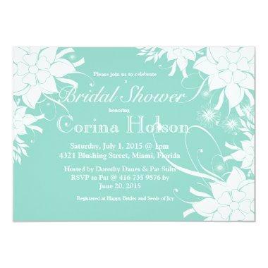 Floral Aqua Bridal Shower Invitations