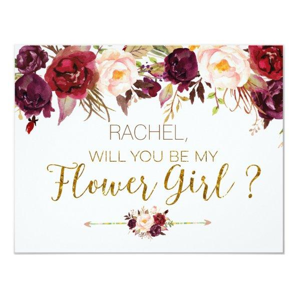 Floral Autumn Will You Be My Flower Girl Invitations