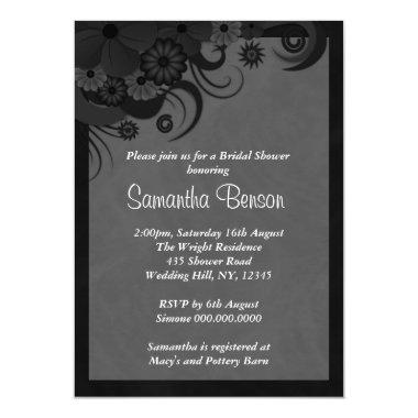 Floral Black and Gray Wedding  Invite