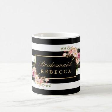 Floral Black Stripes Bridesmaid  Coffee Mug