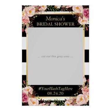 Floral Black White Gold  Photo Prop Poster