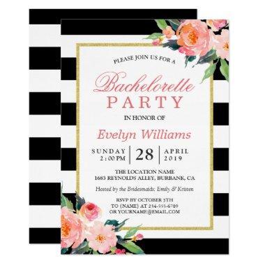 Floral Black White Stripes Gold Bachelorette Party