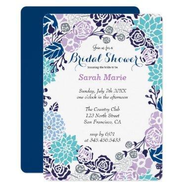 Floral Blue Flower Wreath Party