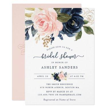 Floral Blush Navy Elegant Bridal Shower Invitations
