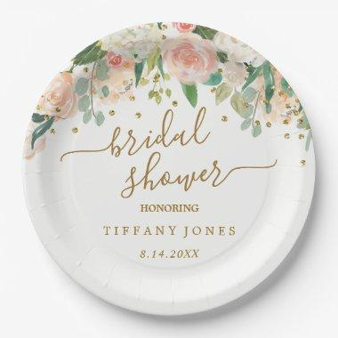 Floral Blush Pink Gold Confetti Bridal Shower Paper Plate