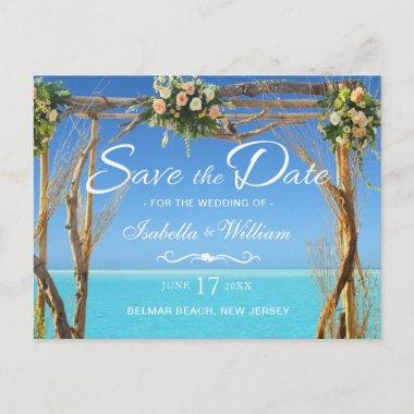 Floral Boho Summer Beach Wedding Save the Date Announcement PostInvitations