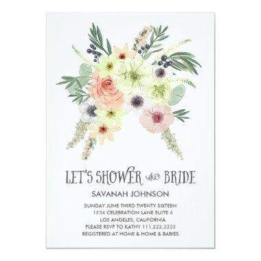 Floral Bouquet | Let's Shower the Bride | Bridal Invitations