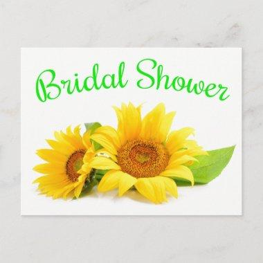 Floral Bridal Shower Sunflower Yellow Green Flower Invitation PostInvitations