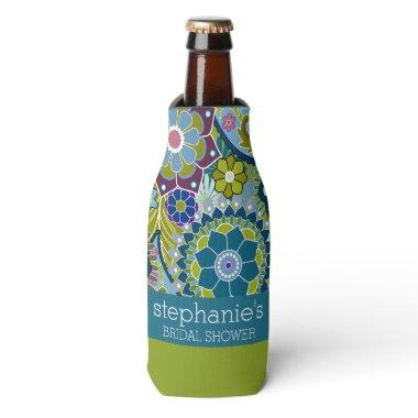 Floral  Teal and Green Retro Flowers Bottle Cooler