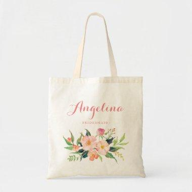 Floral Bridesmaid Personalized Tote Bag