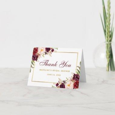 Floral Burgundy Gold Bridal Shower Thanks B Note Thank You Invitations