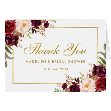 Floral Burgundy Gold  Thanks Note