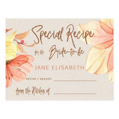 Floral copper glitter script bridal shower recipe postInvitations