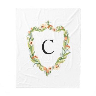 Floral Crest Classic Watercolor Family Fleece Blanket
