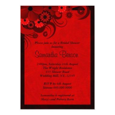 Floral Dark Red Goth Wedding  Invites