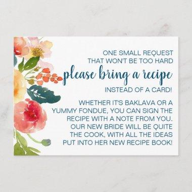 Floral Garden Bridal Shower Bring a Recipe Enclosure Invitations