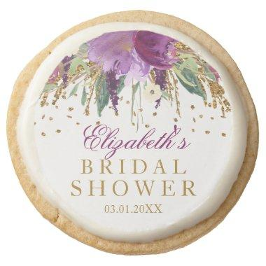 Floral Glitter Amethyst Bridal Shower Cookies