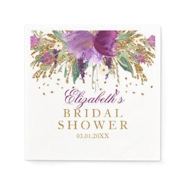 Floral Glitter Amethyst  Napkins