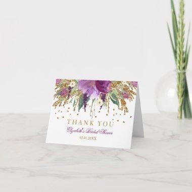 Floral Glitter Amethyst Bridal Shower Thank You