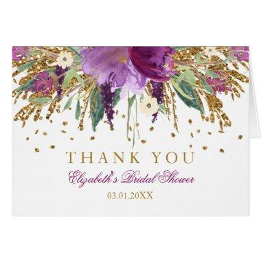 Floral Glitter Amethyst Bridal Shower Thank You Invitations