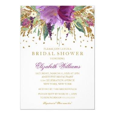 Floral Glitter Sparkling Amethyst Bridal Shower Invitations