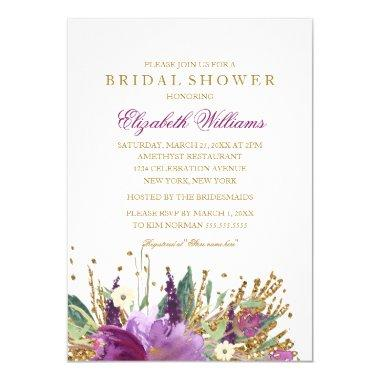 Floral Glitter Sparkling  Invite