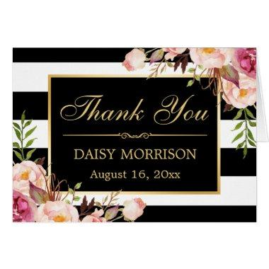 Floral Gold Frame Black White Stripes Thank You