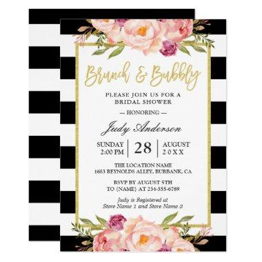 Floral Gold Modern Brunch and Bubbly Bridal Shower Invitations