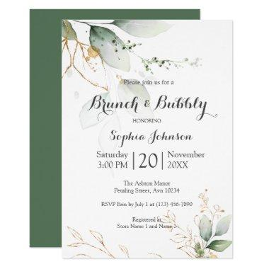 Floral Green Gold Brunch & Bubbly Bridal Shower Invitations