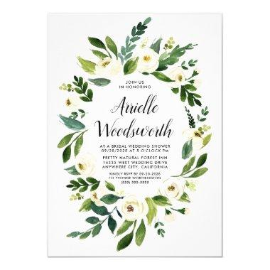 Floral Greenery Ivory Bridal Shower Invitations