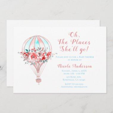 Floral Hot Air Baby Shower The Places She'll Go Invitations