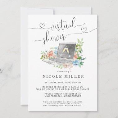 Floral Laptop | Virtual Bridal Shower Invitations