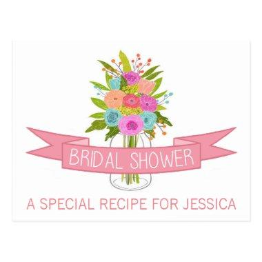 Floral Mason Jar Bridal Shower Recipe Invitations