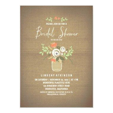 Floral Mason Jar Rustic Burlap Bridal Shower Invitations