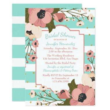 Floral Mint  Pink Flowers Stripes