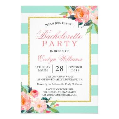 Floral Mint Green Stripes Gold Bachelorette Party