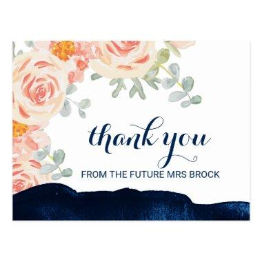 Floral Peach Pink and Navy Watercolor Thank You Post