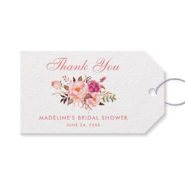 Floral Pink Blush  Thanks Gift Tags