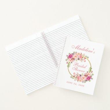 Floral Pink Blush Wreath  Gift List Notebook