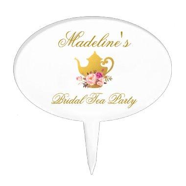 Floral Pink Gold  Tea Party Cake Topper