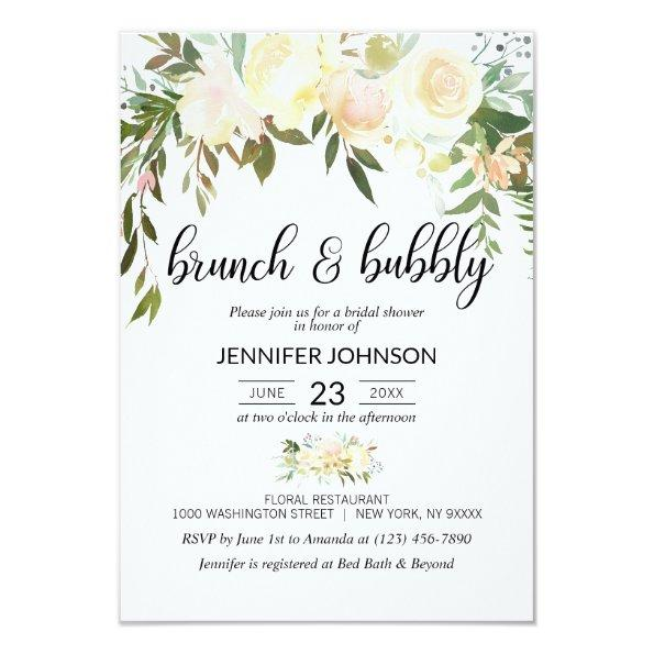 Floral Pink Ivory Brunch & Bubbly Bridal Shower Invitations