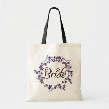 Floral Purple Wreath Calligraphy Bride Beautiful Tote Bag