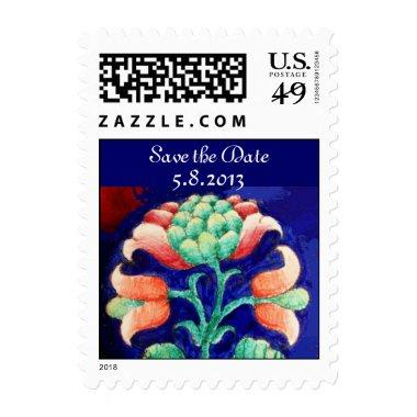 FLORAL Save the Date , blue pink green Postage