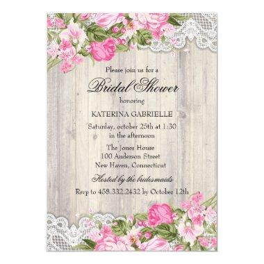Floral Shabby Chic & Lace  Invite