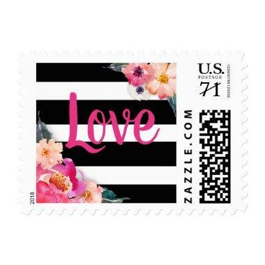 Floral Striped Love Postage