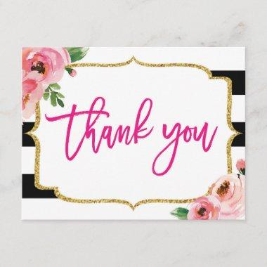 Floral Striped Thank You Note Invitations