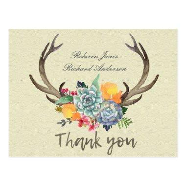 FLORAL SUCCULENT ANTLER BOHEMIAN ALLURE THANK YOU POSTInvitations