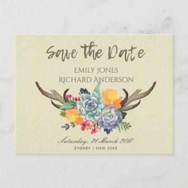 FLORAL SUCCULENT ANTLER BOHEMIAN SAVE THE DATE ANNOUNCEMENT POSTInvitations