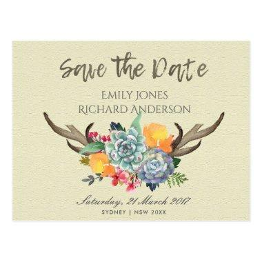 FLORAL SUCCULENT ANTLER BOHEMIAN SAVE THE DATE POST