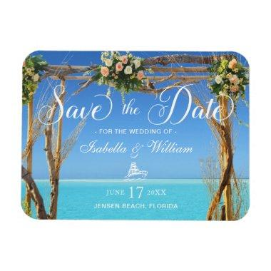 Floral Summer Beach Wedding Gate Save the Date Magnet